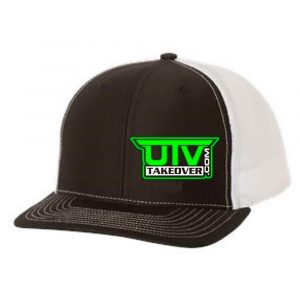 Green UTV Takeover Logo on Black & White Mesh Trucker Hat