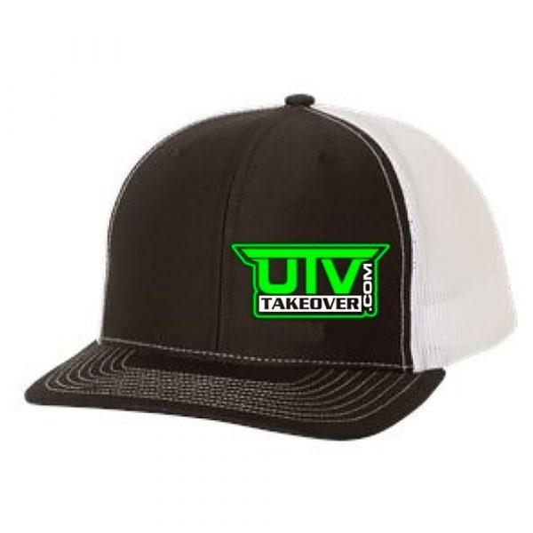 Green UTV Takeover Logo on Black & White Mesh Trucker Hat